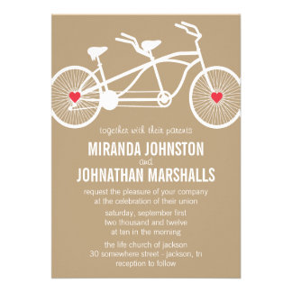 In love- Brown Bicycle Design Wedding Invitations