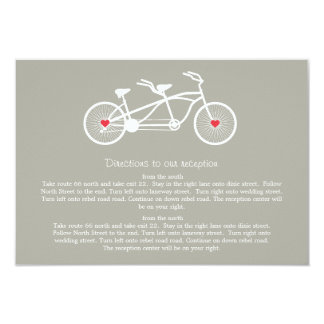 In love- Gray Bicycle  Wedding Direction Cards 9 Cm X 13 Cm Invitation Card
