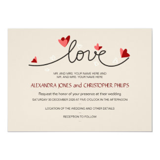 In Love Simple Elegant Text Wedding 13 Cm X 18 Cm Invitation Card