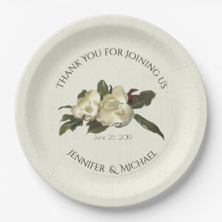 In Love - Vintage Magnolia Floral Wedding Custom 9 Inch Paper Plate