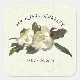 In Love - Vintage Magnolia Flower Custom Wedding Square Sticker