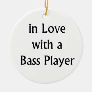 In Love With A Bass Player Black Text Christmas Ornament