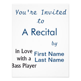 In Love With A Bass Player Black Text Invite