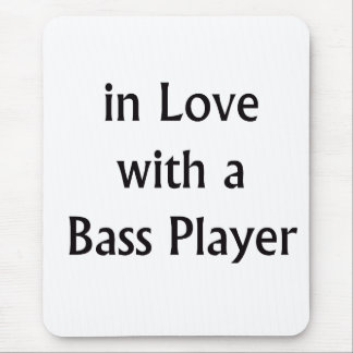In Love With A Bass Player Black Text Mouse Pad