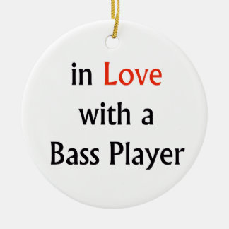 In Love With A Bass Player Red n Black Text Christmas Ornament