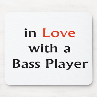 In Love With A Bass Player Red n Black Text Mousepads