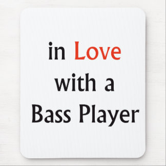 In Love With A Bass Player Red n Black Text Mouse Pad