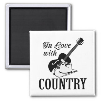 In love with country square magnet