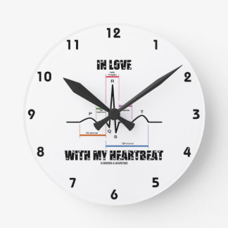 In Love With My Heartbeat Electrocardiogram Round Wallclock