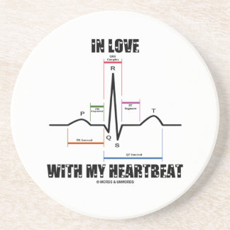 In Love With My Heartbeat Electrocardiogram Drink Coasters