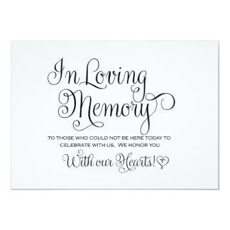 In Loving Memories Wedding Sign 13 Cm X 18 Cm Invitation Card