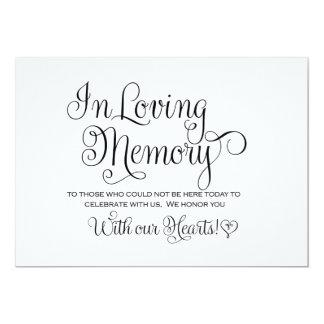 In Loving Memories Wedding Sign 13 Cm X 18 Cm Invitation Card