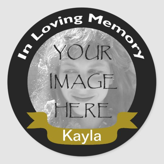 In Loving Memory Black Gold Photo Stickers