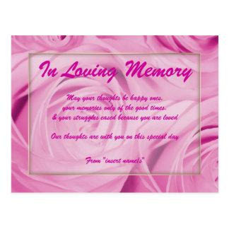 In loving memory condolence memorial death post card
