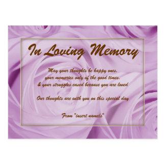In loving memory condolence memorial death postcard