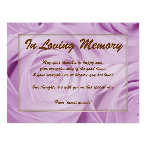 """""""In loving memory"""" condolence memorial death Postcard"""