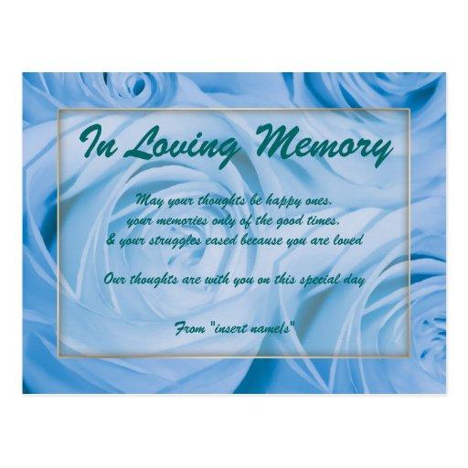 """""""In loving memory"""" condolence memorial death Post Cards"""