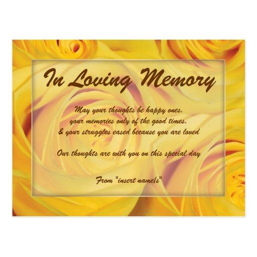 """In loving memory"" condolence memorial death Post Card"