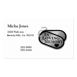 In Loving Memory Dog Tags Business Card Template