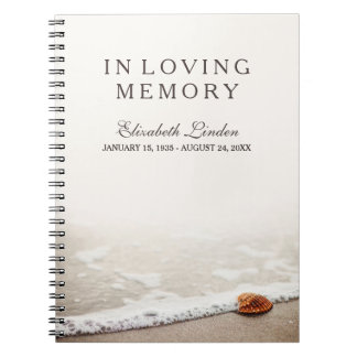In Loving Memory | Funeral Guestbook | Beach Spiral Notebook