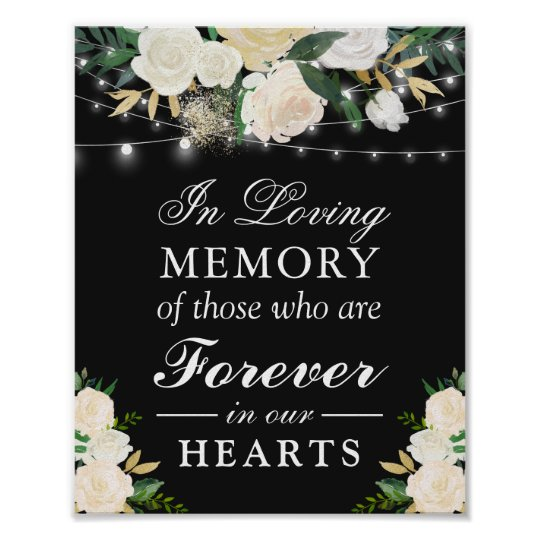 In Loving Memory Ivory White Floral Wedding Sign