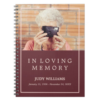 In Loving Memory Maroon Photo Funeral Guestbook Spiral Notebooks