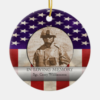 In Loving Memory Military Photo Personalized Christmas Ornament