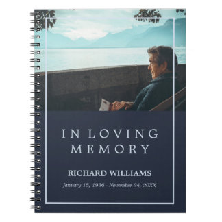In Loving Memory Navy Blue Photo Funeral Guestbook Note Book