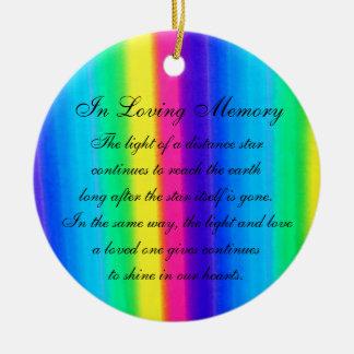 In Loving Memory Pastel Rainbow Death Memorial Round Ceramic Decoration