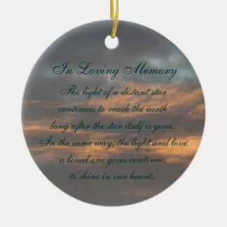 In Loving Memory Pastel Sky Clouds Death Memorial Round Ceramic Decoration