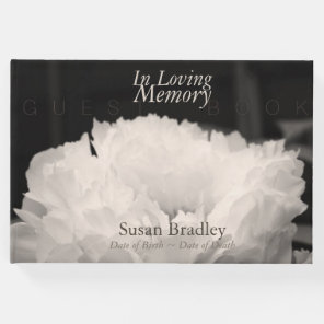 In Loving Memory Peony Funeral Guest Book 1