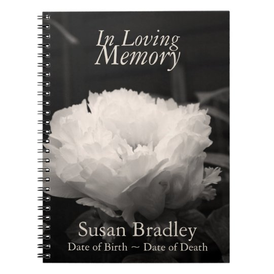 In Loving Memory Peony Funeral NoteBook