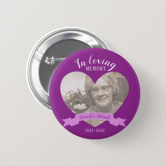 In loving memory photo heart name purple button