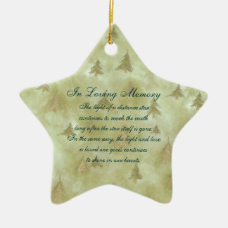 In Loving Memory Pine Fir Trees Death Memorial Ceramic Star Decoration