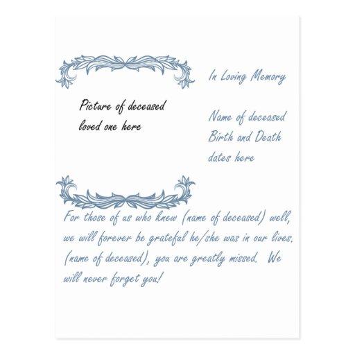 In Loving Memory Post Cards