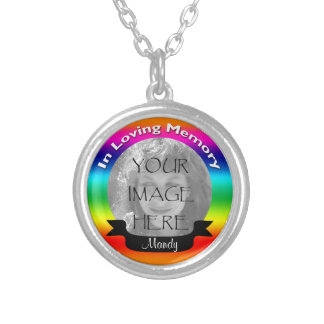 In Loving Memory Rainbow Photo Necklace Pendant