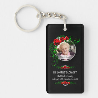 In Loving Memory Roses Pearls Bereavment Memorial Key Ring