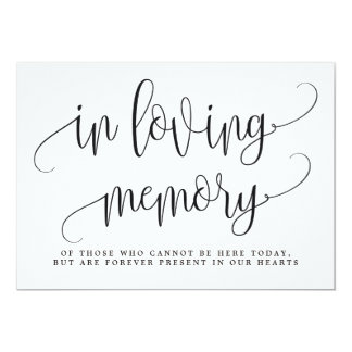 In Loving Memory Sign - Lovely Calligraphy Card