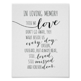 In loving memory sign - Those we love don go away Poster