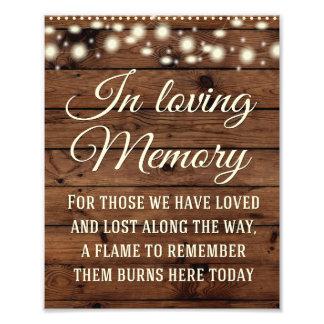 In Loving Memory Sign, Wedding Decor, Wedding Sign Photographic Print