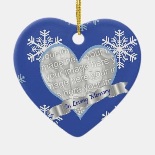 In Loving Memory Snowflake Photo Heart Ornament