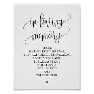 In loving memory Wedding Memorial Table Sign v3