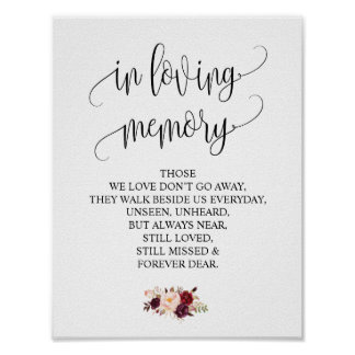In loving memory Wedding Memorial Table Sign v4