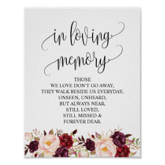 In loving memory Wedding Memorial Table Sign v6