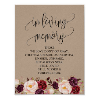 In loving memory Wedding Memorial Table Sign v7