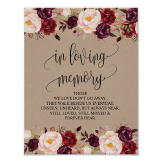 In loving memory Wedding Memorial Table Sign v8