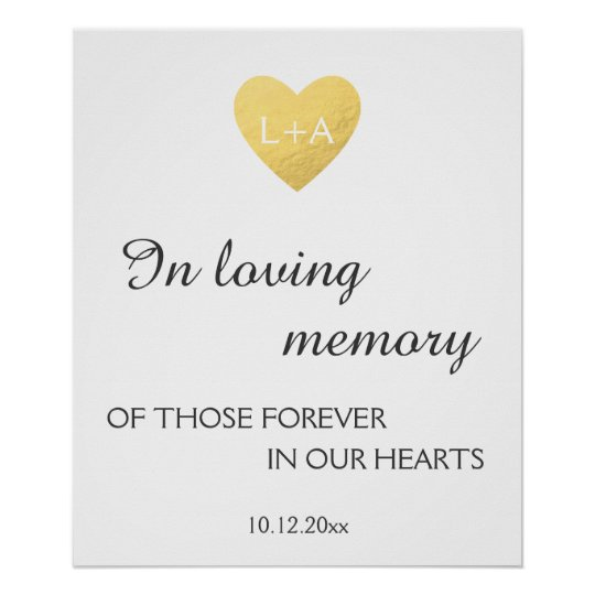 In loving memory Wedding sign, faux gold heart