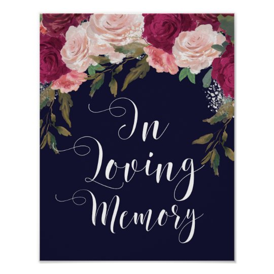 In loving memory wedding sign navy floral