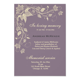 In Memoriam 13 Cm X 18 Cm Invitation Card