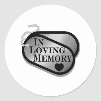 In Memory Dog Tags Round Stickers